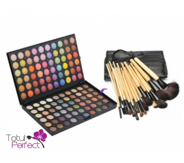 Kit Trusa profesionala 120-3 de farduri make-up si Set Pensule machiaj 24 Bucati